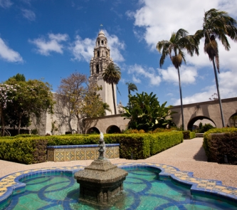 California Tower from Alcazar Gardens in Balboa Park