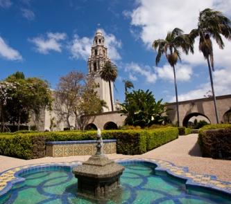 California Tower from Alcazar Gardens in Balboa Park