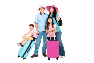 Happy Chinese family with suitcase at the airport - Photo taken in San Diego all rights reserved 2014